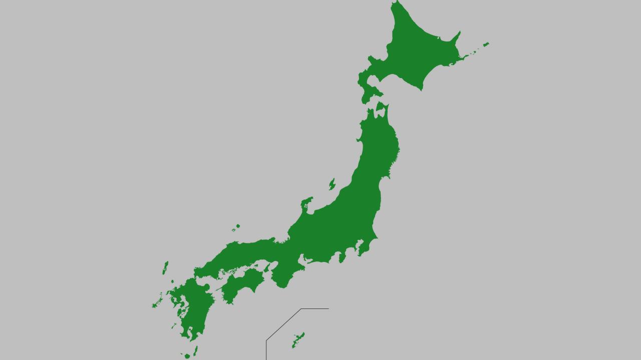 日本地図グレー掛け