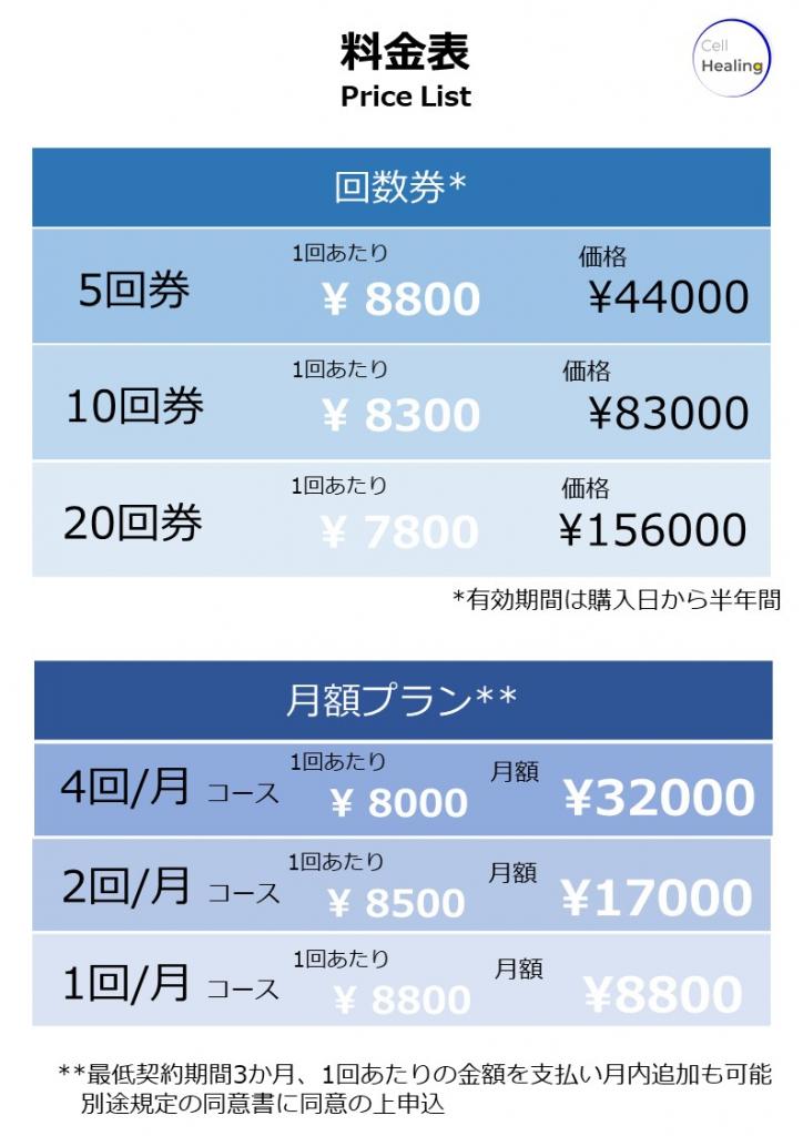 セル・ヒー2リング整体院_料金表